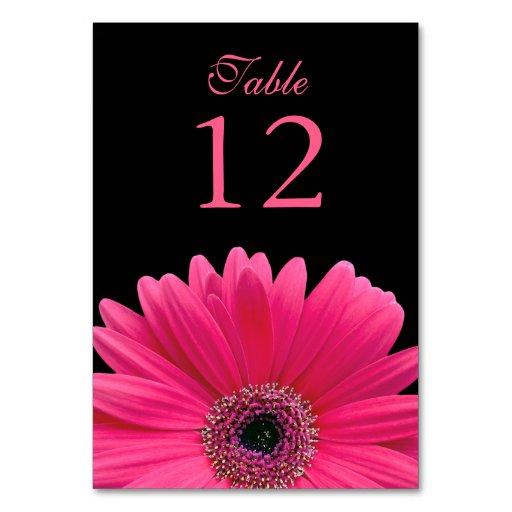 Hot Pink Black Gerber Daisy Wedding Table Cards