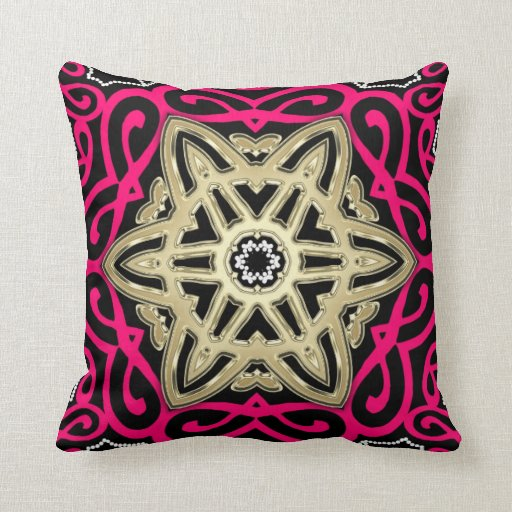 Hot Pink Black & Gold Celtic Star Big Cushion