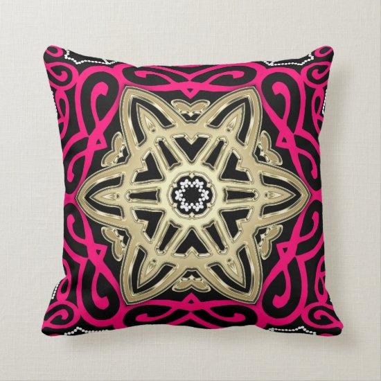Hot Pink Black & Gold Celtic Star Big Cushion