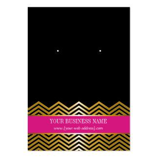 Hot Pink Black Gold Chevron Custom Earring Card Large Business Card