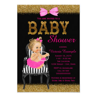 Hot Pink Black Gold Chic Chair Girl Baby Shower Card
