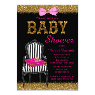 Hot Pink Black Gold Princess Chair Baby Shower Card