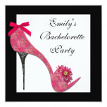 Hot Pink Black High Heel Shoes Bahcelorette Party Personalized Invitations