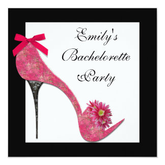 Hot Pink Black High Heel Shoes Bahcelorette Party 5.25x5.25 Square Paper Invitation Card