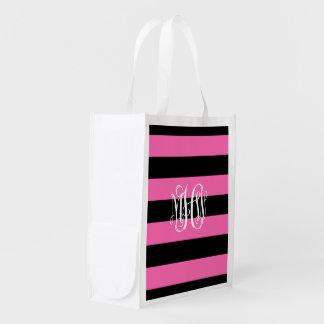 Hot Pink Black Horiz Stripe #3 Vine Monogram Reusable Grocery Bag