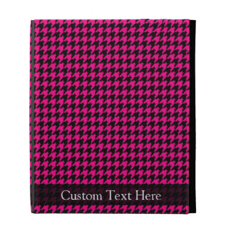 Hot Pink/Black Houndstooth iPad Folio Cases
