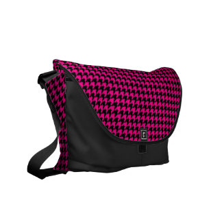Hot Pink/Black Houndstooth Commuter Bags