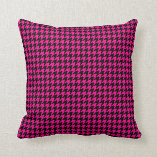 Hot Pink/Black Houndstooth Pillow