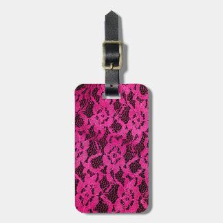 Hot Pink/Black Lace-Look Bag Tag
