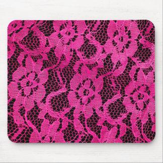 Hot Pink/Black Lace-Look Mousepads