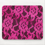 Hot Pink/Black Lace-Look Mousepads