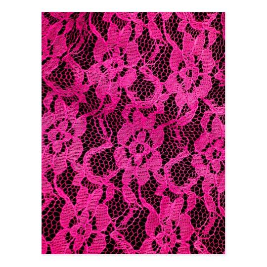 Hot Pink/Black Lace-Look Postcard