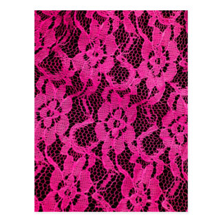 Hot Pink/Black Lace-Look Postcards