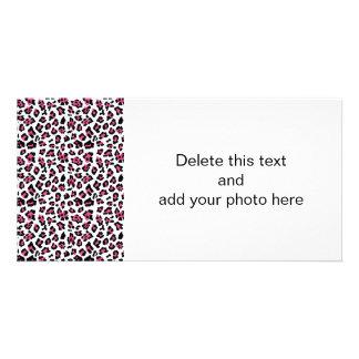 Hot Pink Black Leopard Animal Print Pattern Card