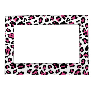Hot Pink Black Leopard Animal Print Pattern Photo Frame Magnet