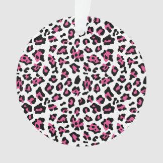 Hot Pink Black Leopard Animal Print Pattern Ornament