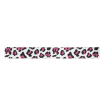 Hot Pink Black Leopard Animal Print Pattern Satin Ribbon