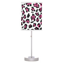 Hot Pink Black Leopard Animal Print Pattern Table Lamp
