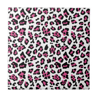 Hot Pink Black Leopard Animal Print Pattern Ceramic Tiles