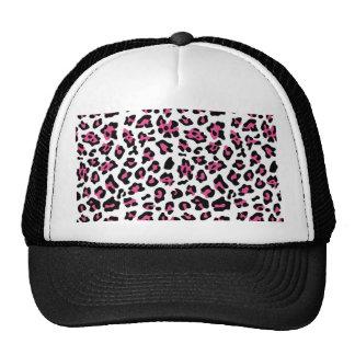 Hot Pink Black Leopard Animal Print Pattern Trucker Hat