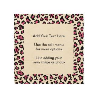 Hot Pink Black Leopard Animal Print Pattern Wood Wall Decor