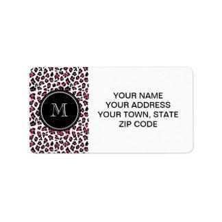 Hot Pink Black Leopard Animal Print with Monogram Address Label