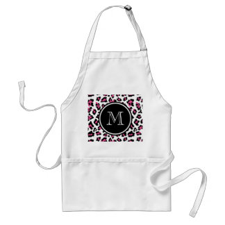 Hot Pink Black Leopard Animal Print with Monogram Apron