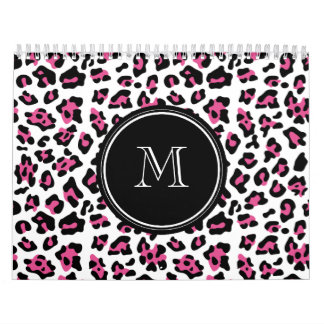 Hot Pink Black Leopard Animal Print with Monogram Wall Calendar