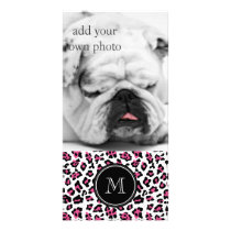 Hot Pink Black Leopard Animal Print with Monogram Card