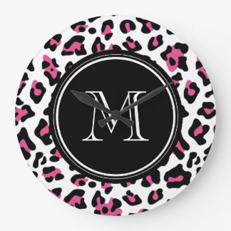 Hot Pink Black Leopard Animal Print with Monogram Clock
