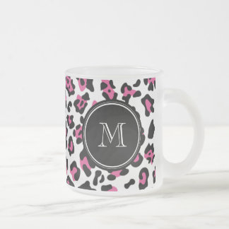 Hot Pink Black Leopard Animal Print with Monogram Frosted Glass Coffee Mug