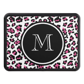 Hot Pink Black Leopard Animal Print with Monogram Hitch Cover