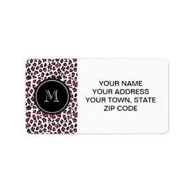 Hot Pink Black Leopard Animal Print with Monogram Labels