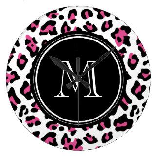 Hot Pink Black Leopard Animal Print with Monogram Large Clock