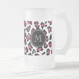 Hot Pink Black Leopard Animal Print with Monogram Beer Mugs