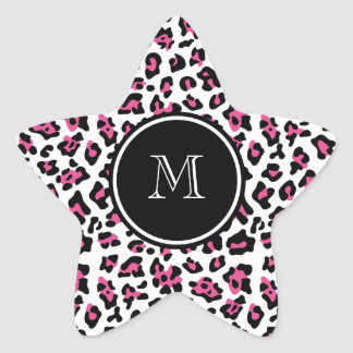 Hot Pink Black Leopard Animal Print with Monogram Star Sticker