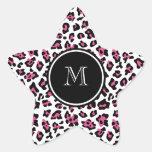 Hot Pink Black Leopard Animal Print with Monogram Star Sticker