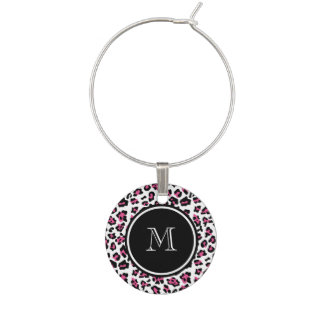 Hot Pink Black Leopard Animal Print with Monogram Wine Glass Charms
