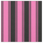 [ Thumbnail: Hot Pink & Black Lined/Striped Pattern Fabric ]