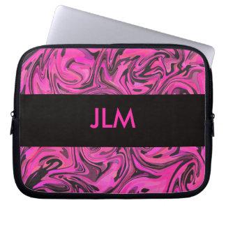 Hot Pink & Black Liquid Swirl Computer Sleeves