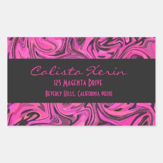 Hot Pink & Black Liquid Swirlz Rectangular Sticker
