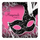 Hot Pink Black Mask Masquerade Party Card