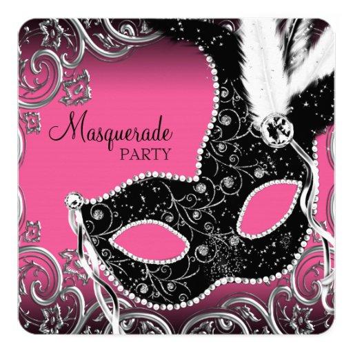 Hot Pink Black Mask Masquerade Party 5.25x5.25 Square Paper Invitation Card