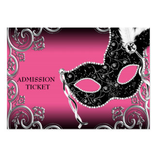 Hot Pink Black Masquerade Party Admission Tickets Large Business Card