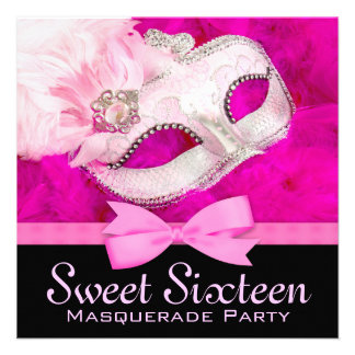 Hot Pink Black Masquerade Party Invitations