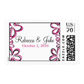 Hot Pink & Black Modern Flowers Postage Stamp
