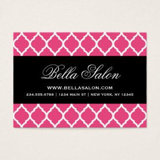 Hot Pink & Black Modern Moroccan Lattice Business Card