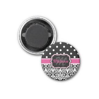 Hot Pink Black Monogrammed Damask Polka Dot 1 Inch Round Magnet