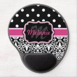 Hot Pink Black Monogrammed Damask Polka Dot Gel Mouse Pad