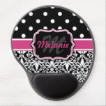 Hot Pink Black Monogrammed Damask Polka Dot Gel Mouse Mats